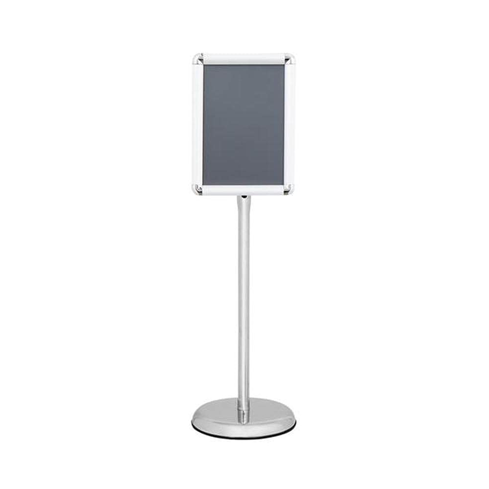 SUOTENG 25mm Aluminum A4 Poster Stand Silver, Adjustable Pedestal Poster Stand Aluminum Snap Open Frame for Vertical and Horizontal View Sign Displayed, Round Base.