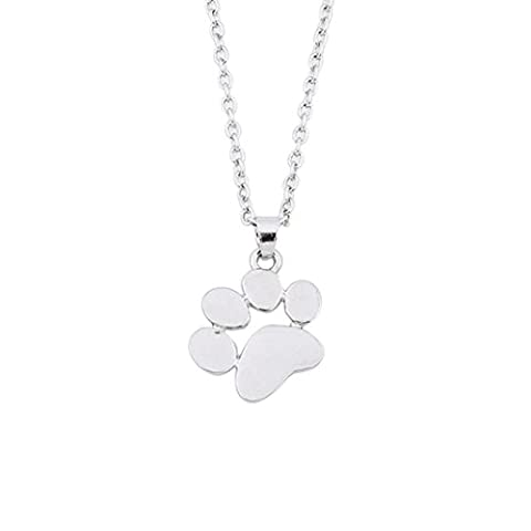 Botrong Dog Paws Necklace Jewelry Accessories Pendant for Women (Silver) - Sport Turquoise Pendant