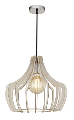 Wooden Hanging Lamp Indoor Wood Pendant Lighting Modern Farmhouse Chandeliers with Cord Ceiling Lamp Light Fixture for Dining Room,Kitchen, Bedrooms(White) by Lee's