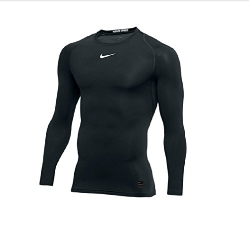 NIKE Pro Long Sleeve Compression Top (Black/White) (L) by NIKE