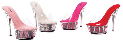 (Ellie Shoes Sexy High Heel Stiletto Sandal Pink Roses in Platform 609-ROSES/PNK-7)
