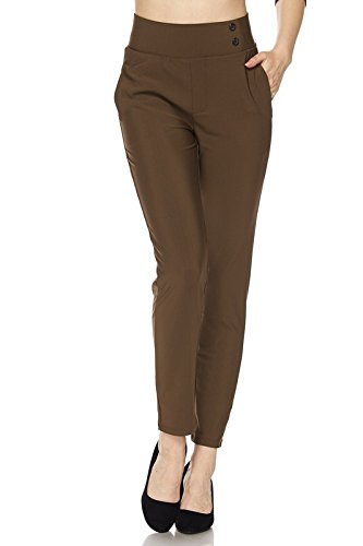 2LUV Women's Pull On Stretch Solid Ankle Dress Pants w/Side Pocket Mocha M(SSP-YS07-SOLID) by 2LUV