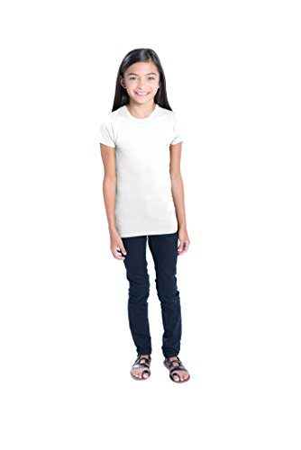 LAT Apparel Girls 100% Cotton Fine Jersey Tee with Ribbed Collar [Small] White T-Shirt - Banana Fitted Jersey T-shirt