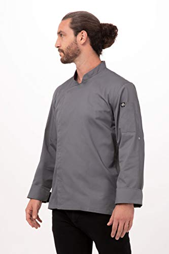 Chef Works Men's Lansing Chef Coat, Gray, Large from Chef Works
