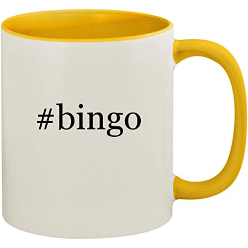 #bingo - 11oz Ceramic Colored Inside and Handle Coffee Mug Cup, Yellow by Molandra Products