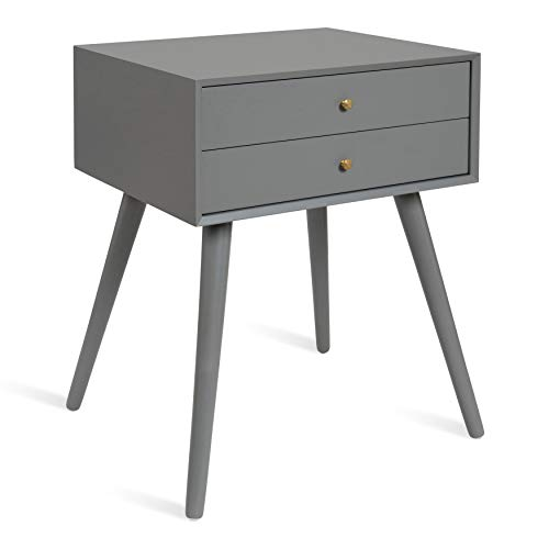 - Kate and Laurel Finco Nightstand Side Table with 2 Drawers, Gray