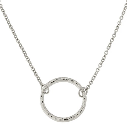 Sterling Silver Hammered Open Circle Pendant Necklace, (Silver Circle Necklace)