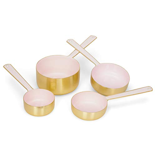Creative Brands Metal Measuring Cup, Set of 4, Pink and Gold
