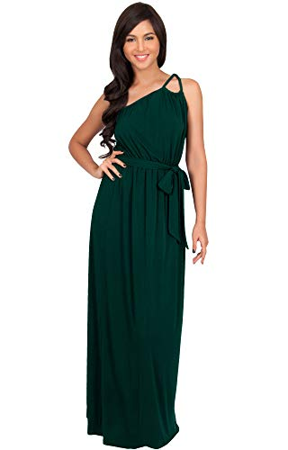 KOH KOH Plus Size Womens Long Sleeveless One Shoulder Cocktail Evening Formal Bridesmaid Bridal Wedding Party Summer Sexy Cute Maternity Gown Gowns Maxi Dress Dresses, Emerald Green XL 14-16 ()