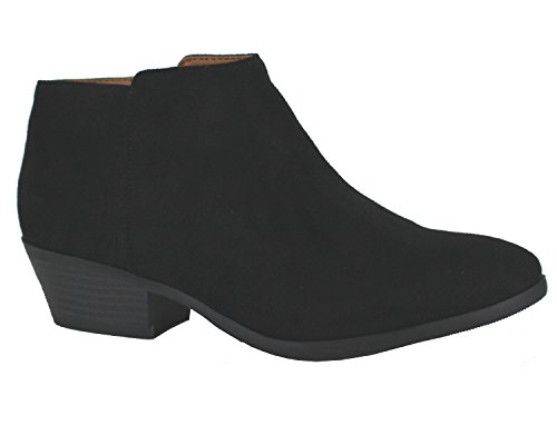 SODA Western Ankle Boot- Cowgirl Low Heel Closed Toe Casual Bootie ISU Black ()