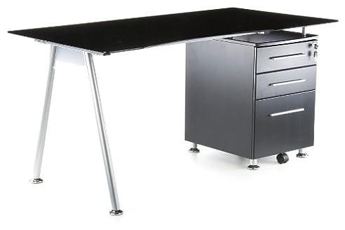 Hjh OFFICE 673935 Schreibtisch START UP Graphite / Schwarz Glas Mit  Standcontainer