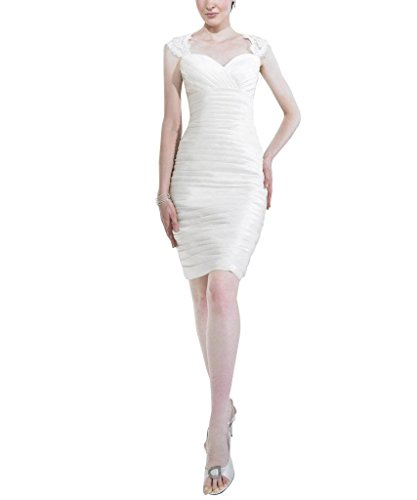 Spitze mit Hochzeitskleider Applikationen BRIDE Weiß Taft Schatz Kurze GEORGE Brautkleider Wc0qRvxx