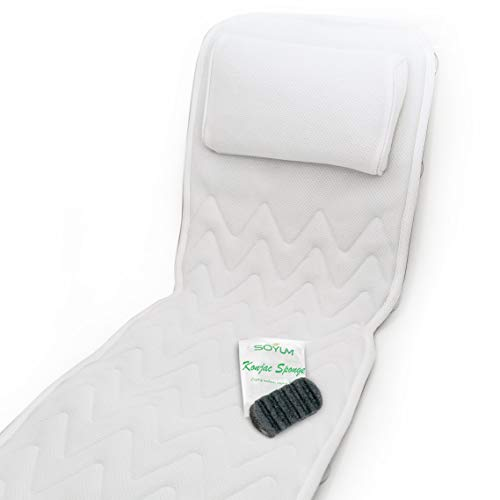 IndulgeMe Full Body Bath Pillow - Non-Slip, Plus Konjac Bath Sponge, Luxurious Mat, Bath Pillows for Tub Neck and Back Support