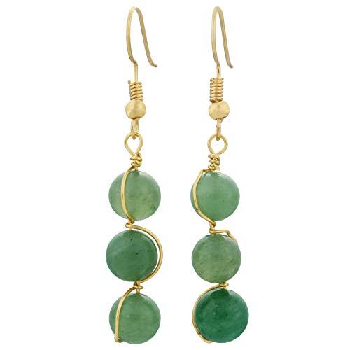 SUNYIK Round Stone Bead Tassel Dangle Earrings for Women, Gold Plated, Green Agate (Green Agate Stone)