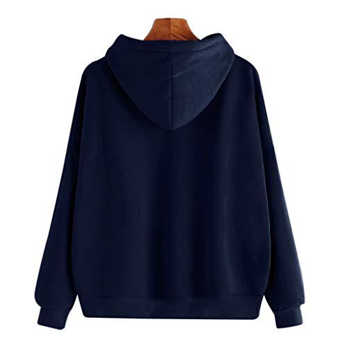 solido scuro cappuccio casual Aimee7 felpa blu lunga manica Felpa Tops donna cappotto con camicetta qpn8OBR