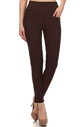 Lined Pants Trousers - LA12ST Women's Straight Fleece Lined Pant Warm Trouser Stretch Skinny Solid Zipper Casual Business Office Brand