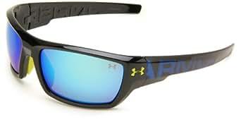 Under Armour Assert Shiny Black Frame / Blue Lettering W/ Lime Green Rubber W/ Gray Lens W/ Blue Multiflection Lens