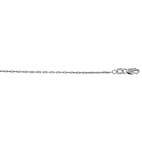 14k White Gold 1.3mm Anchor Marine Link Chain Necklace - (Marine Links 14k Gold Chain)
