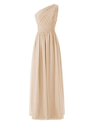 Loffy Women's Pleat Chiffon One Shoulder Bridesmaid Dresses Long Evening Gown Champagne Size 26