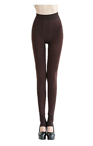 Women's thickening Leggings with velvet warming pants by Da Ben Tai (Coffee)