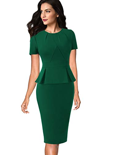 VFSHOW Womens Pleated Crew Neck Peplum Wear to Work Office Sheath Dress 532 GRN 3XL Emerald - Neck Dress Pleated