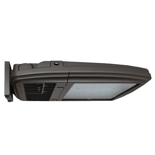 81-Watt Bronze LED Outdoor Area Light, Type V, 5000K CCT, CRI 80, Wall Mount, Clear Glass Lens, Dimmable, 9220 Lumens, Replaces up to 250 watt Metal Halide, Die-Cast Aluminum Housing, 120-277V