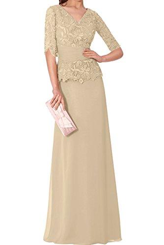Halbarm Chiffon Partykleider Ivydressing Spitze Abendkleider Neu Wertvoll Neck Mutterkleider V Champagner nP86qYzP