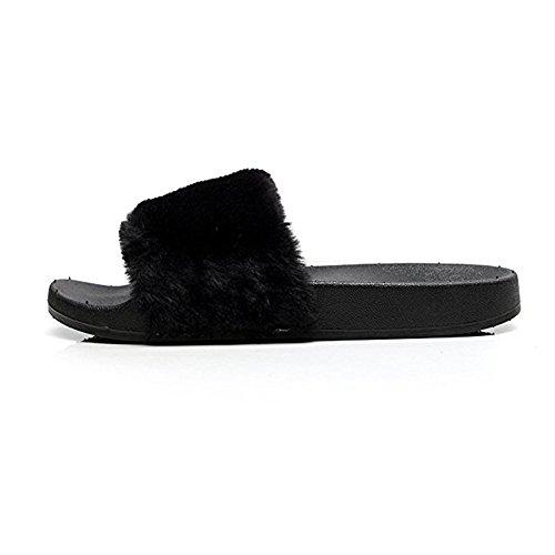 Wysbaoshu Womens Faux Fur Slippers Soft Slides Platte Flip Flop Zwart