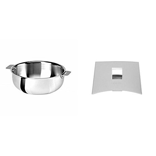 Cristel SR22QMP Saucier, Silver, 3 quart with Cristel Mutine Plmaw Side Handle, White by