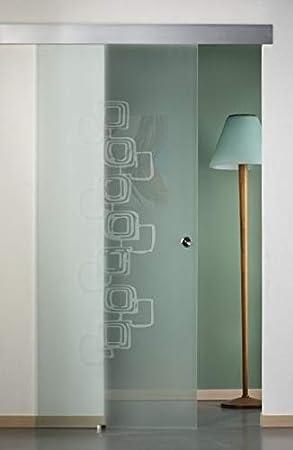 Puerta corredera exterior de cristal satinado con diseño 90 x 210: Amazon.es: Bricolaje y herramientas
