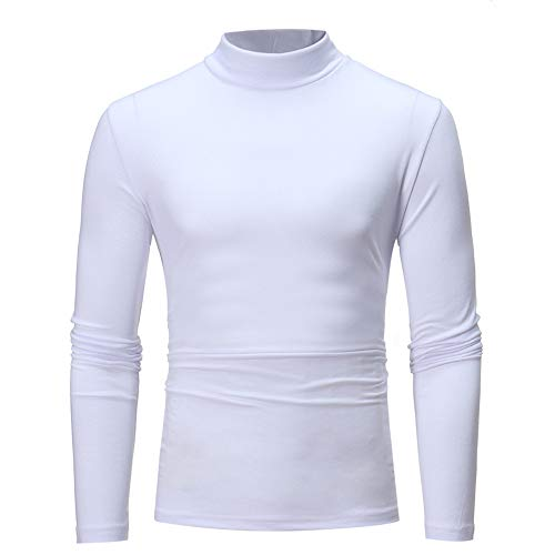 (POQOQ Henley T-Shirts Mens Long Sleeve Double Layered V-Neck Fashion Button Placket Lightweight Burnout Thermal and Heather XXL White)