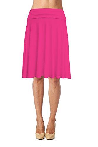 - Womens Basic Soft Stretch Mid Midi Knee Length Flare Flowy Skirt Made in USA-Fuchsia,3X