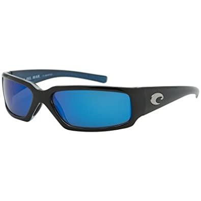 0d9659dfb4 Image Unavailable. Image not available for. Color  Costa Del Mar Sunglasses  - Rincon   Frame  Shiny Black Lens  Polarized Blue Mirror