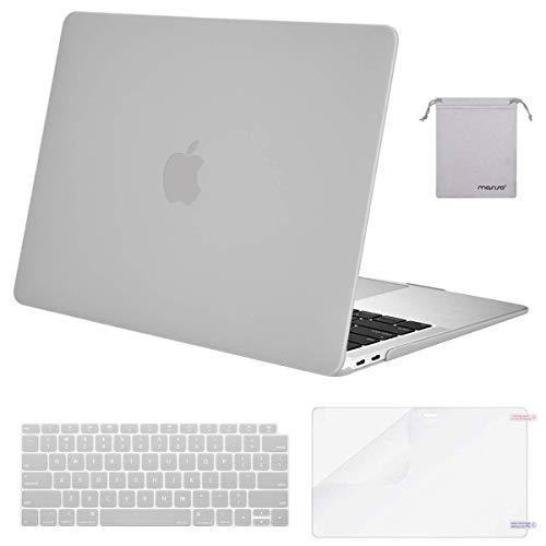 MOSISO MacBook Air 13 inch Case 2020 2019 2018 Release A2179 A1932 with Retina Display, Plastic Hard Shell&Keyboard Cover&Screen Protector&Storage Bag Compatible with MacBook Air 13, Neutral Gray