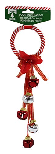 (Happy Home Gifts Red and White Striped Jingle Bells Door Knob Hanger)