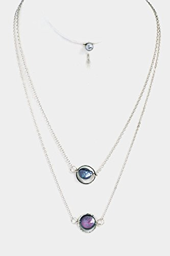 GlitZ Finery Double Layer Round Pendant Necklace Set (Rhodium/Gray)