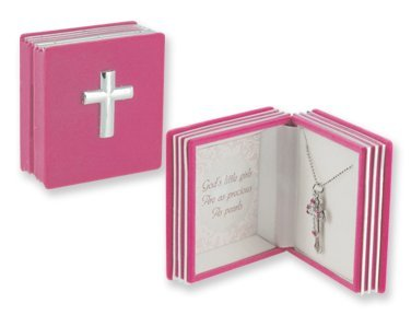 Childrens Girls Pink Cross Necklace. Double Cross Pendant Featuring Dainty Pearls with Colorful Accents, Packaged in a Charming Keepsake Bible Box. Perfect Commemorate for a Religious Event! Diamond-cut Cable Chain Is 16