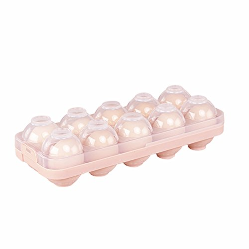 COOLQING Stackable Egg Storage Holder with Lid - Refrigerator Egg Storage Container, Cartons, Organizer, Bin for 10 Eggs - Great to Organize Your Fridge (Pink)