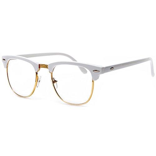 Rimless Glasses Dubai : Sunglass Spot-Retro Half Frame Simi-Rimless White Browline ...