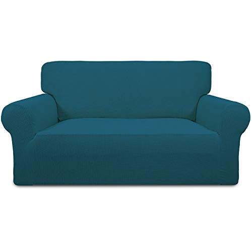 Easy-Going Stretch Sofa Slipcover 1-Piece Couch Sofa Cover Furniture Protector Soft with Elastic Bottom for Kids,Pet. Spandex Jacquard Fabric Small Checks(loveseat,Peacock Blue)