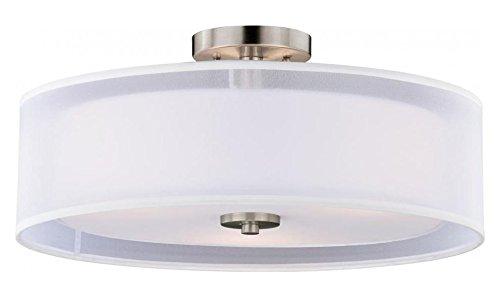 Satin Nickel Nuage 3 Light Semi-Flush Ceiling Fixture with White Fabric Shade
