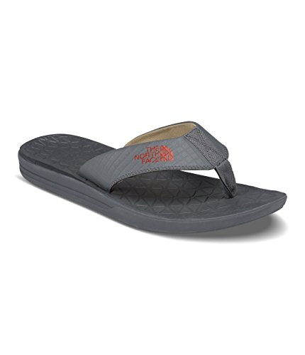 - The North Face Men's Base Camp Lite Flip-Flops - Zinc Grey and Bossa Nova Red - 10