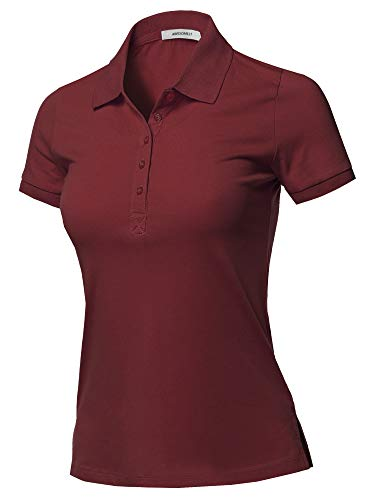 Solid Basic Short Sleeve School Uniform Polo Top Dark Burgundy 2XL
