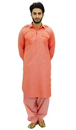 (Atasi Men's Pathani Style Men's Salwaar Kameez Salmon Punjabi Shirt-XXX-Large)