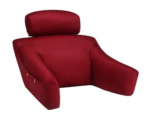 BedLounge Dr. Designed (Regular Size, 100% Cotton Cover, Burgundy Color): Egonomically Designed to Offer the Comfort and Support You Deserve (Chair Fixed Arms Burgundy Fabric)