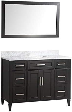 Amazon Com Vanity Art 48 Inch Single Sink Bathroom Vanity Set Carrara Marble Stone Top Soft Closing Doors Undermount Rectangle Sink Cabinet With Free Mirror Va2048 E Kitchen Dining