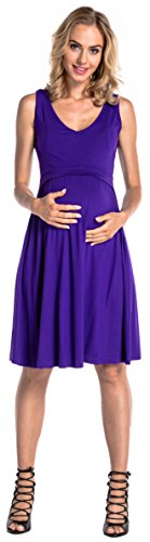 Happy Mama. Para Mujer Vestido en Capas Premamá de Lactancia Sin Mangas. 685p Púrpura