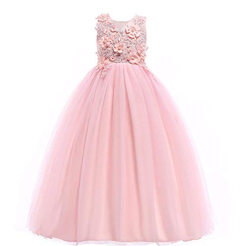 Weileenice Girls Lace Party Wedding Dresses 3D Embroidery Flower Girl Pageant Prom Ball Gown Birthday Dress(13-14Y, Peach) (Dress Gown Flower Girl)