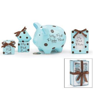 (Baby Boy 4 Piece Keepsake Gift Set With Piggy Bank, First Tooth Box,First Curl Box and Photo Frame)