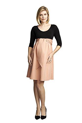 - Maternal America Women's Maternity Front Tie Ponte Dress, Black/Blush, X-Small